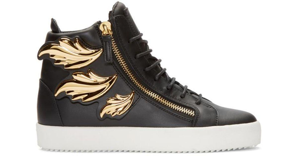 31d480697 Giuseppe Zanotti Black Leather Leaf High-top London Sneakers in Black for  Men - Lyst
