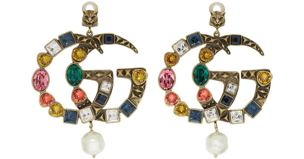 f968f73cea9 Gucci Crystal Gg Earrings in Metallic - Lyst