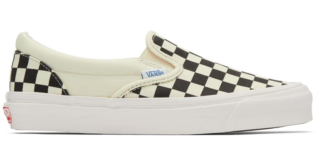 5f7171f32d0 Lyst - Vans Black And Off-white Og Checkerboard Classic Slip-on Sneakers in  Black