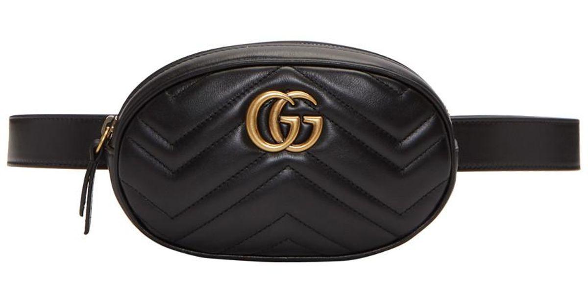 Lyst - Sac-ceinture noir GG Marmont 2.0 Gucci en coloris Noir db04c01f816