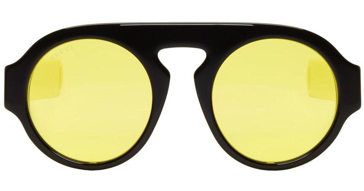 082aa12ebca Lyst - Gucci Black Round Sport Sunglasses in Black for Men