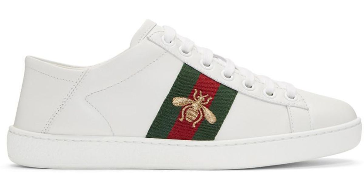 312227abacc1 Gucci White Ace Leather Sneakers in White - Lyst