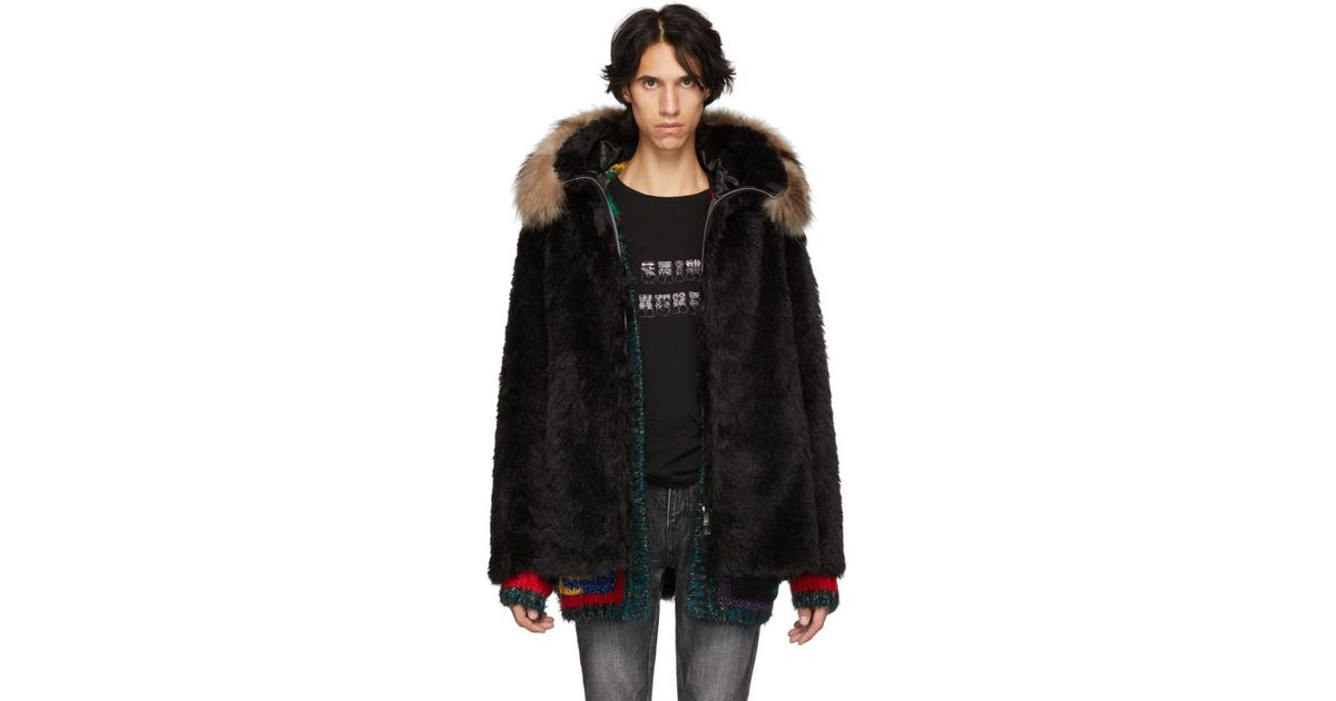 bc2c34ef0bf Saint Laurent Black Faux-fur Jacket in Black for Men - Lyst