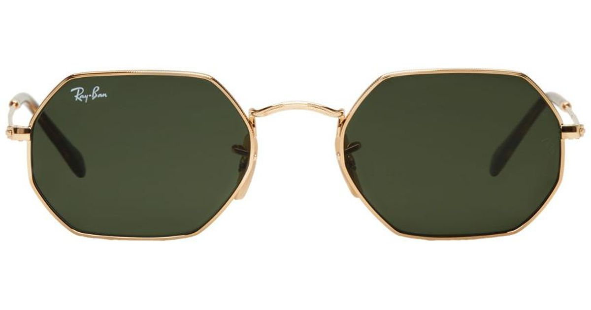 71393635aa Lyst - Ray-Ban Gold Octagonal Flat Sunglasses in Metallic for Men