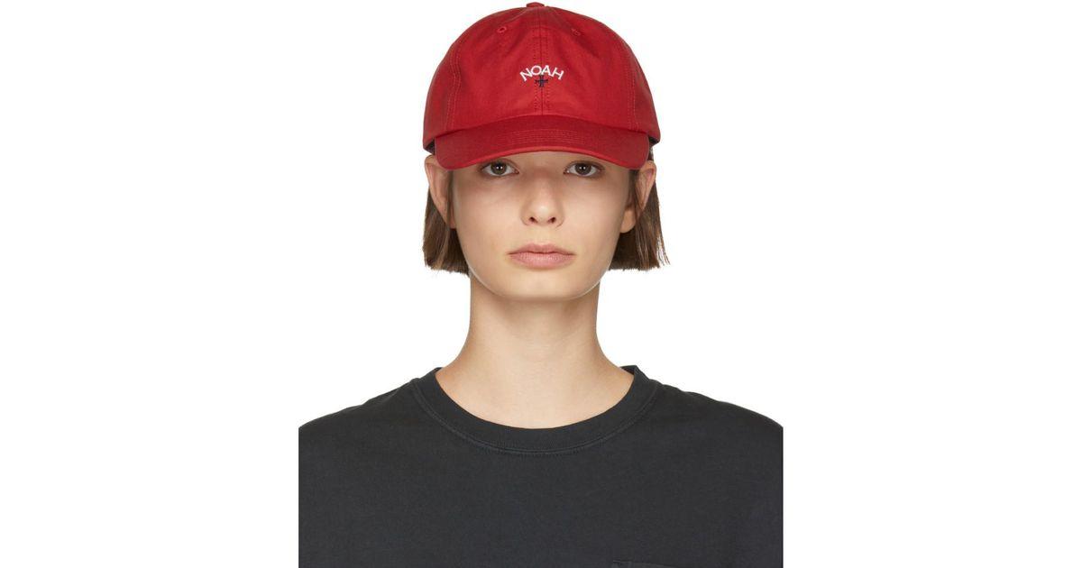 26d6136303cc3 Noah Red Water-repellent Logo Cap in Red - Lyst