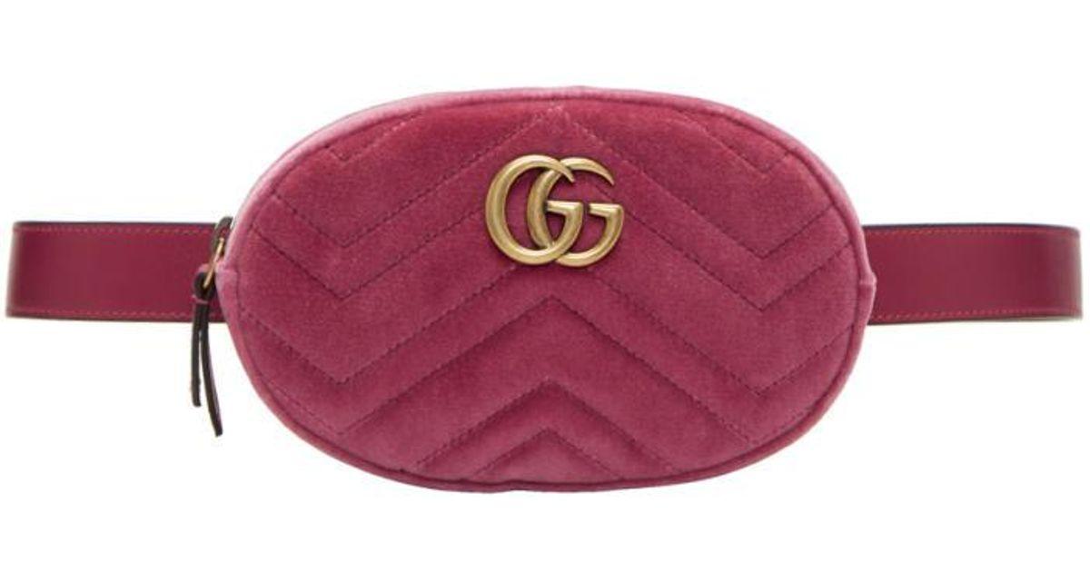 Gucci Pink Velvet Gg Marmont Matelassé Belt Bag in Pink - Lyst