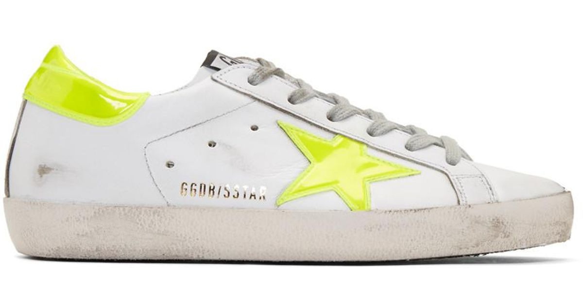 Lyst - Golden Goose Deluxe Brand White & Yellow Fluo Superstar Sneakers in White
