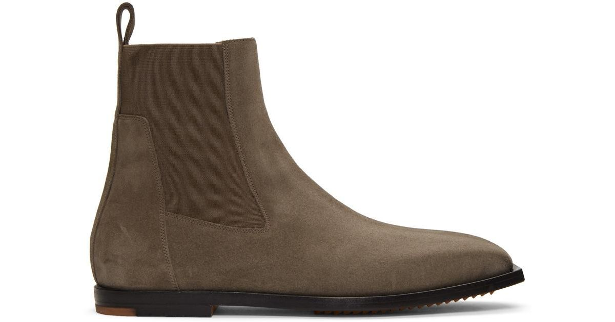 2f019c81a5f Rick Owens Brown Flat Square Toe Elastic Boots for men