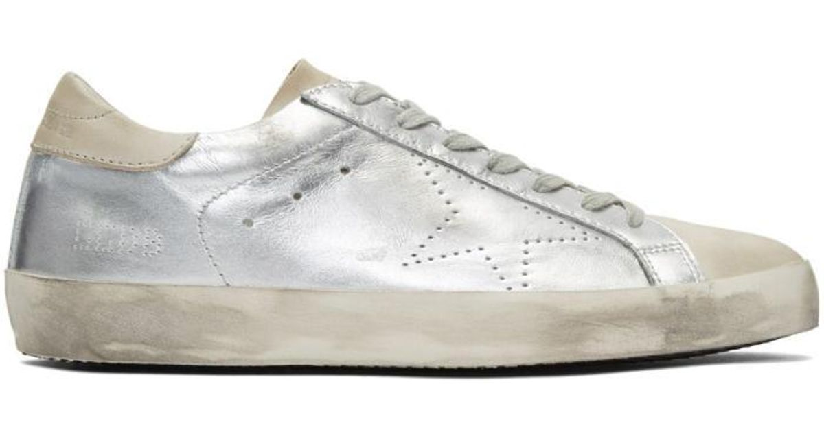 Golden Goose Silver & Grey Skate Superstar Sneakers