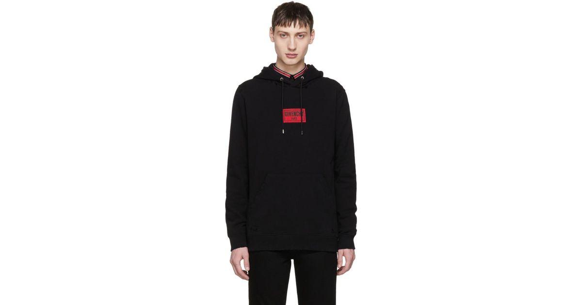 28bb0849580 Lyst - Pull a capuche et manches longues a effet use noir Box Logo Givenchy  pour homme en coloris Noir