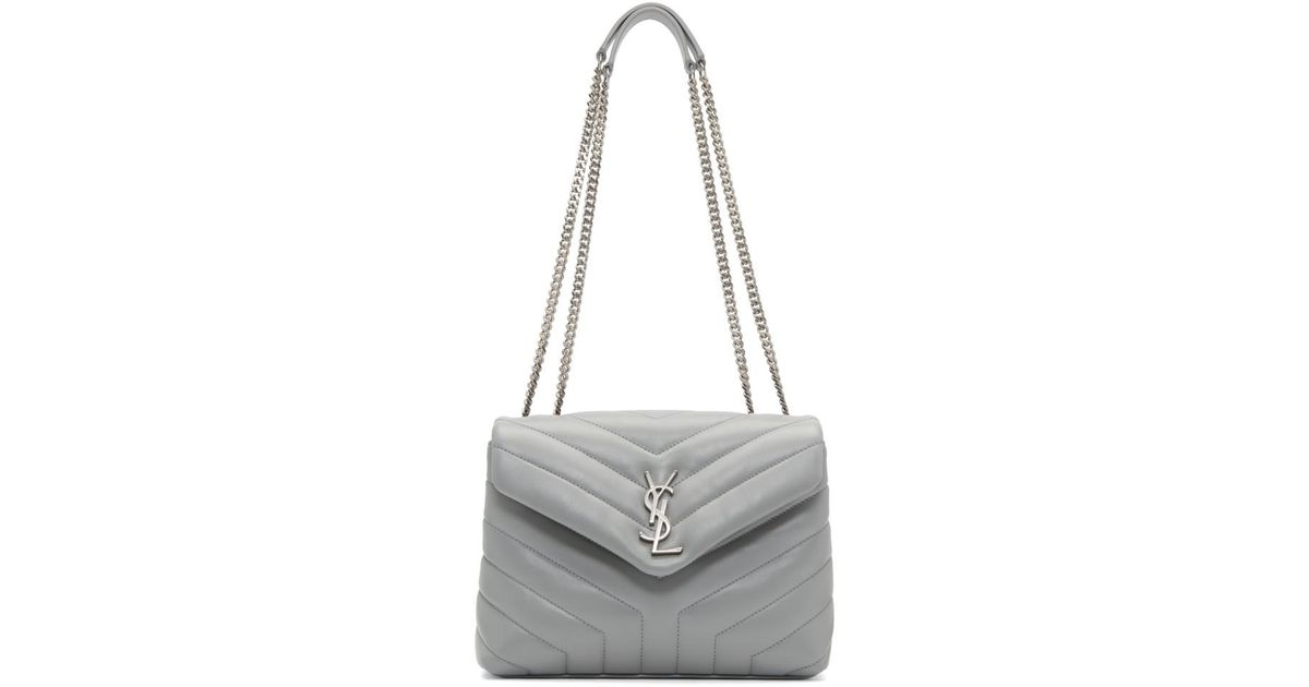 db5f6484d1 Sac matelasse a chaine gris Small Loulou Saint Laurent en coloris Gris -  Lyst