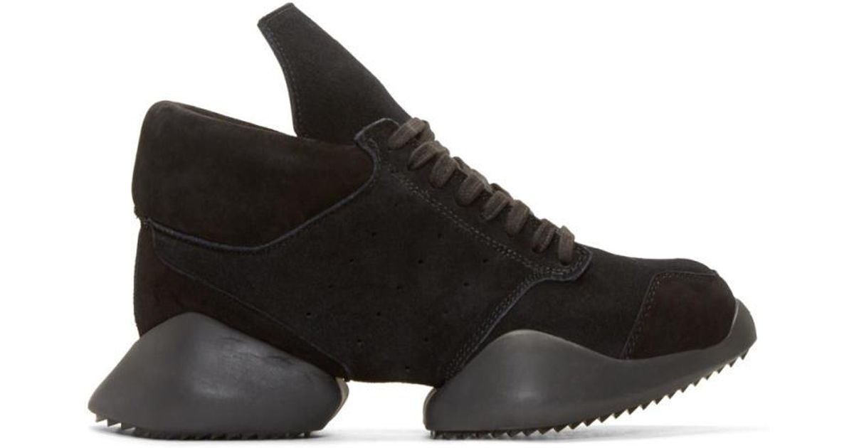 pretty nice 5be0a bd24a Lyst - Rick Owens Black Suede Island Sole Adidas By Sneakers in Black for  Men