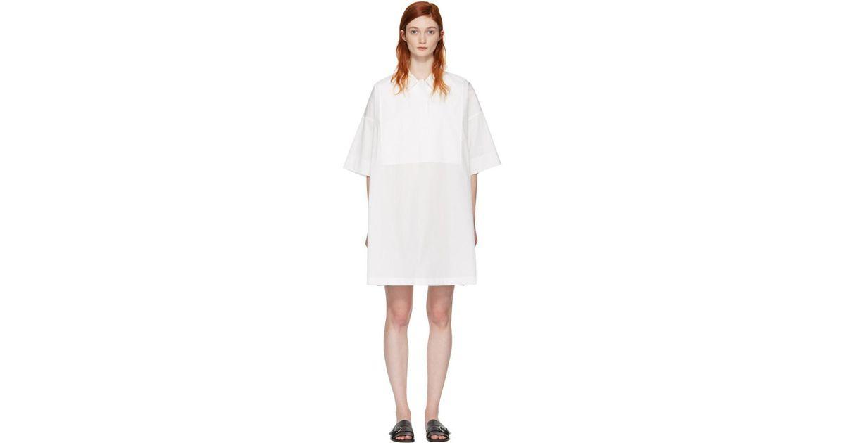 Poplin Dress Studios Lyst Dry In Acne White Sena FBfWqcWPI