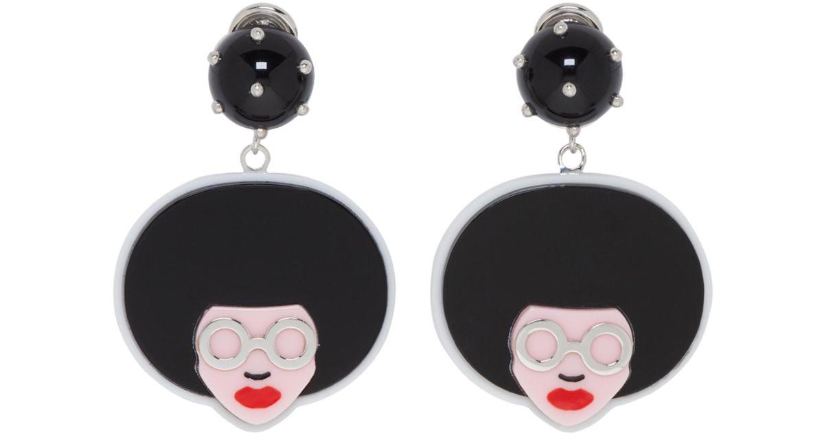 Prada Black, Red and White Comic Lady Earrings