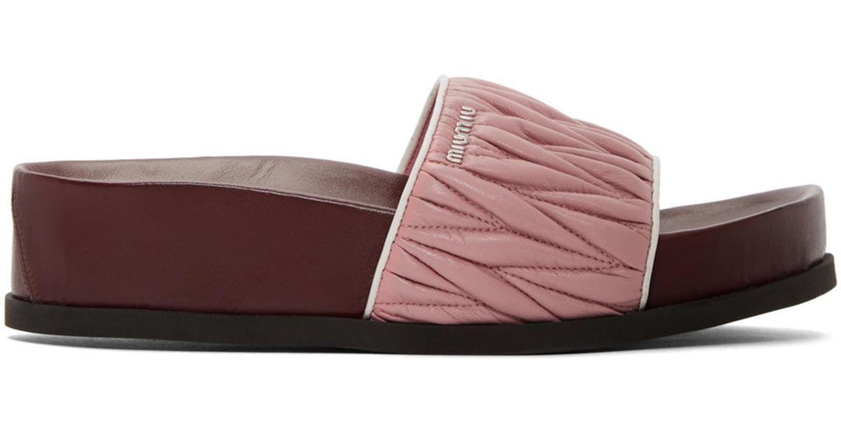Miu Miu & Burbundy Quilted Platform Sandals Fvr8w