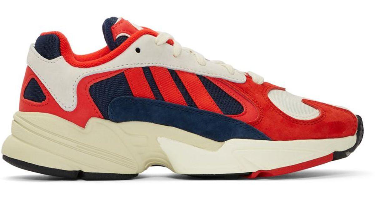 Baskets blanches et rouges Yung 1 Adidas Originals en coloris Red