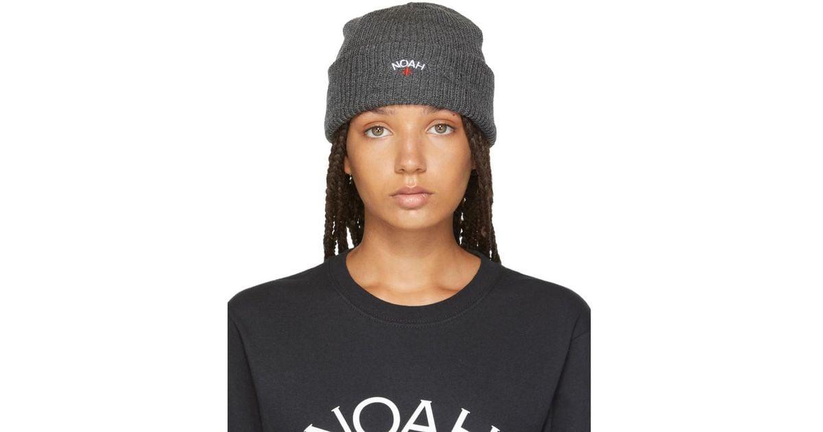Lyst - Noah Grey Logo Core Beanie in Gray a4bb074002f
