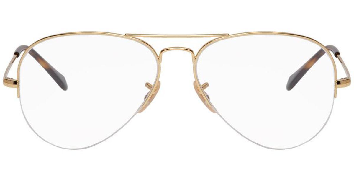Lyst - Ray-Ban Gold Gaze Aviator Glasses in Metallic for Men