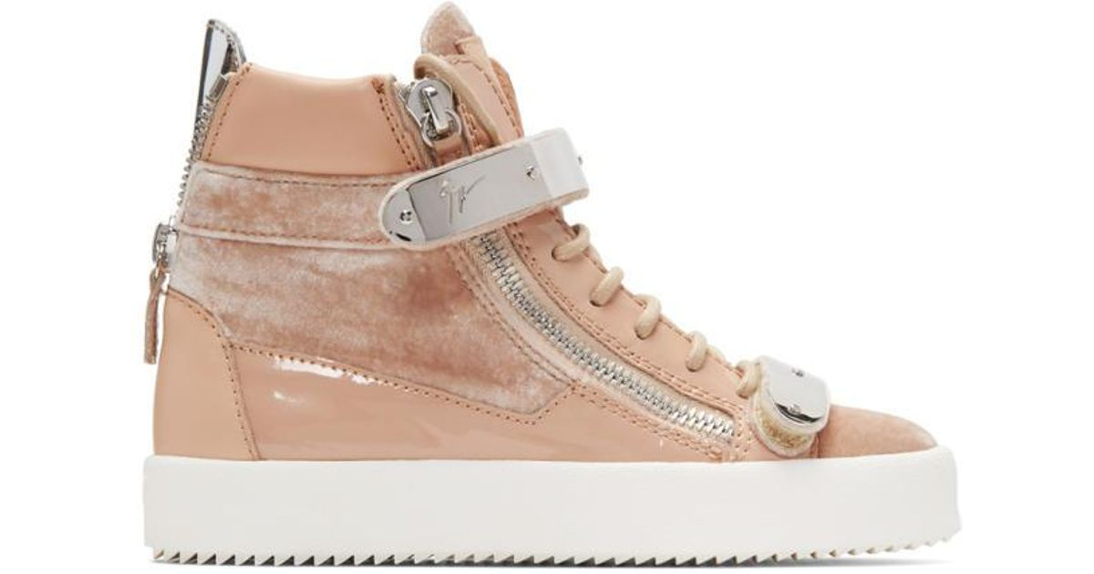 Pink Flocked May London High-Top Sneakers Giuseppe Zanotti n7lnigfK