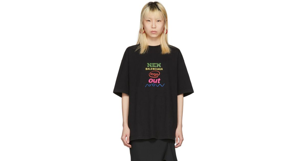 8f959ff9b907 Balenciaga Black Oversized New Logo T-shirt in Black - Lyst