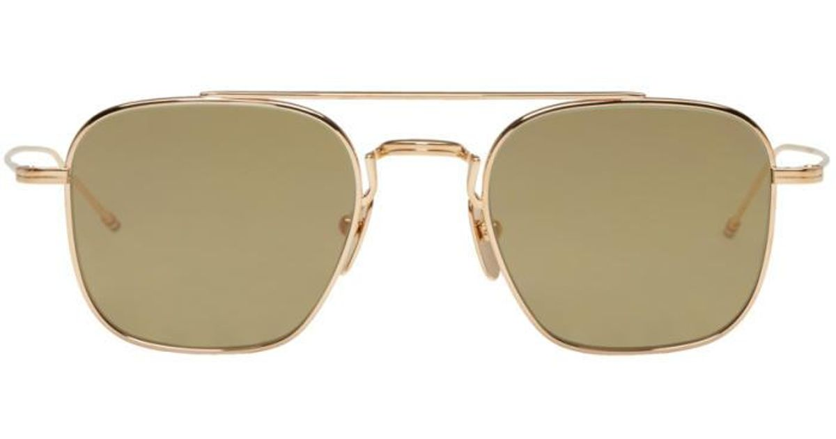 fe9517c4a383 Lyst - Thom Browne Gold Tb 907 Sunglasses in Metallic for Men