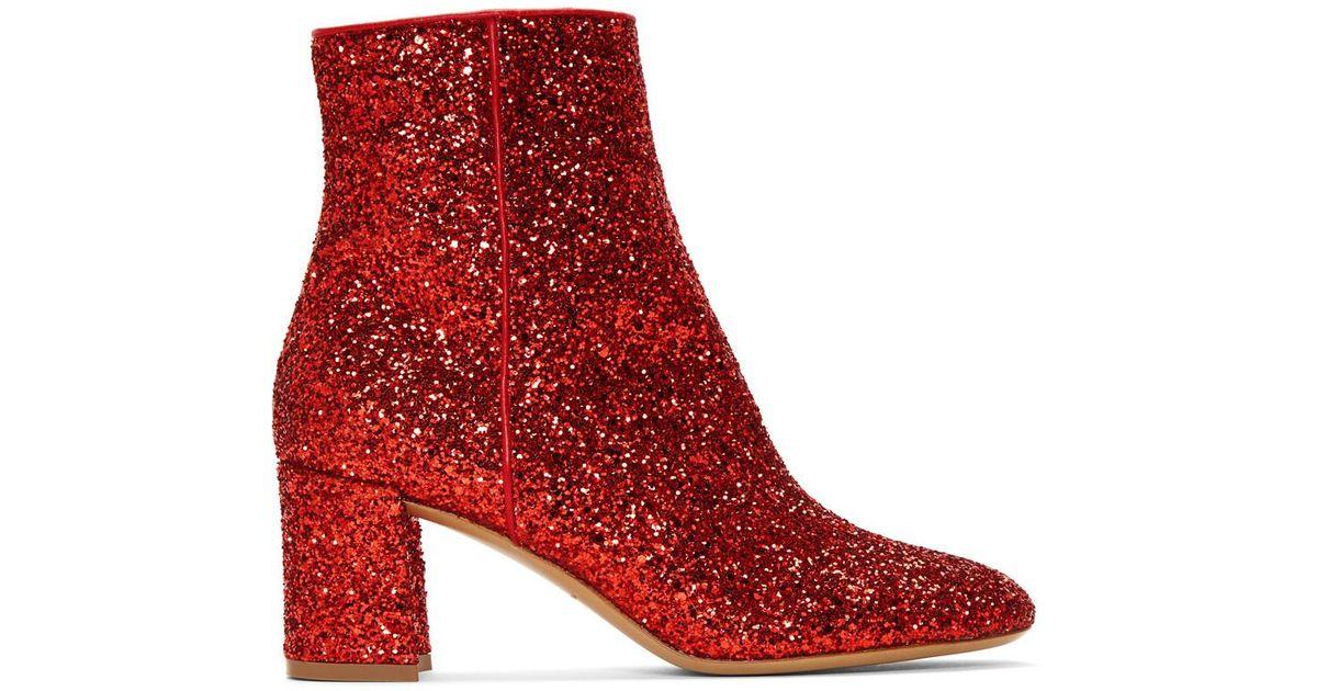 a19ee00c176 Mansur Gavriel Glitter 65mm Ankle Boot - Flamma in Red - Lyst