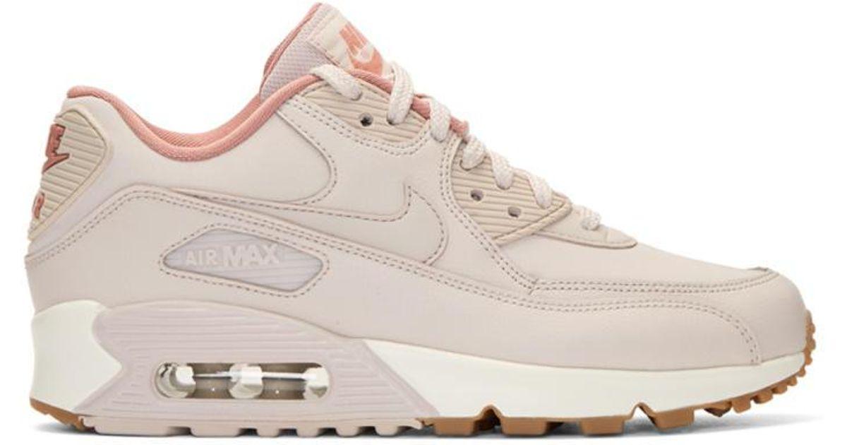 b40daf8c1a Nike Pink Air Max 90 Lea Sneakers in Pink - Lyst