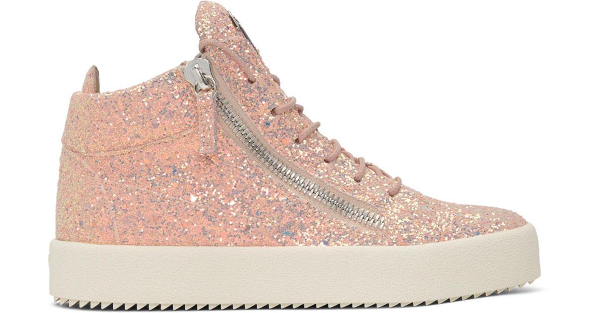 Giuseppe Zanotti Pink Glitter May London Sneakers AmRSAVzzzd
