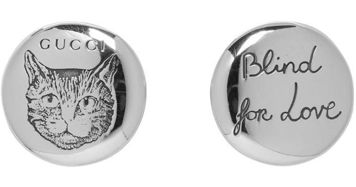 994975810 Gucci Silver Blind For Love Feline Stud Earrings in Metallic - Lyst