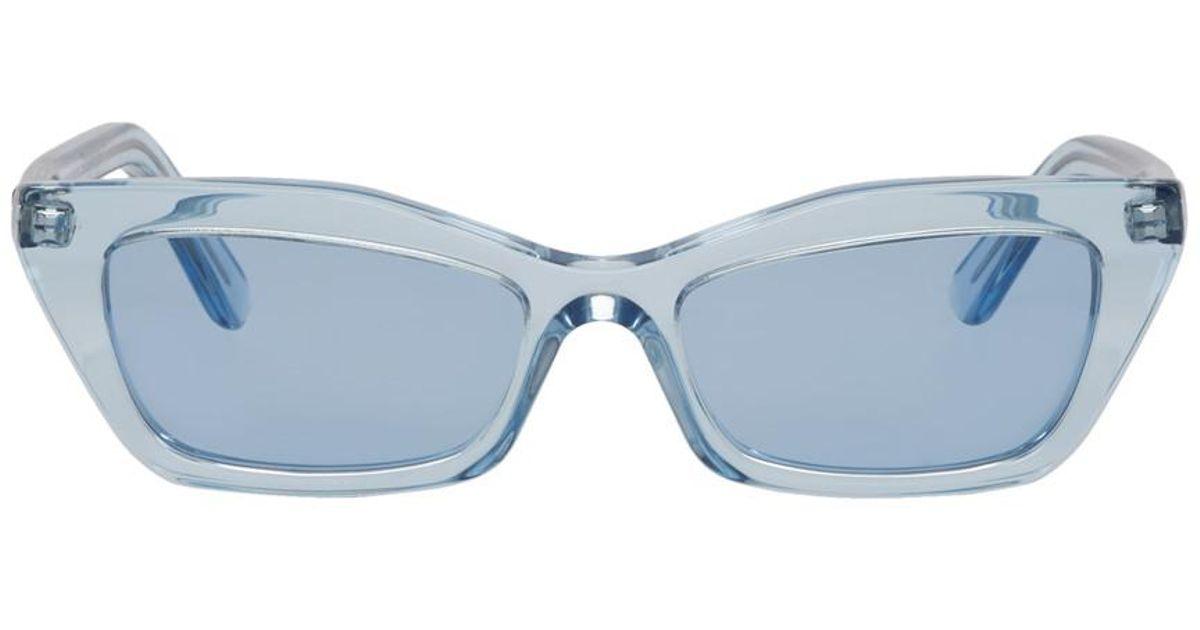 Lyst - Balenciaga Blue Thin Cat-eye Sunglasses in Blue