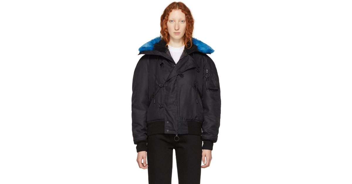 0790eb9bfc19 Lyst - Off-White c o Virgil Abloh Black Faux-fur Bomber Jacket in Black
