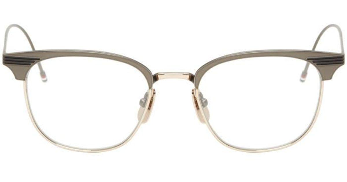 a223de7931ed Lyst - Thom Browne Gunmetal   Gold Round Tb-104 Glasses in Black