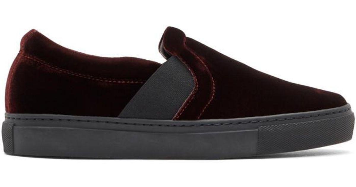 Burgundy Velvet Slip-On Sneakers Lanvin MBLYw6Toc7