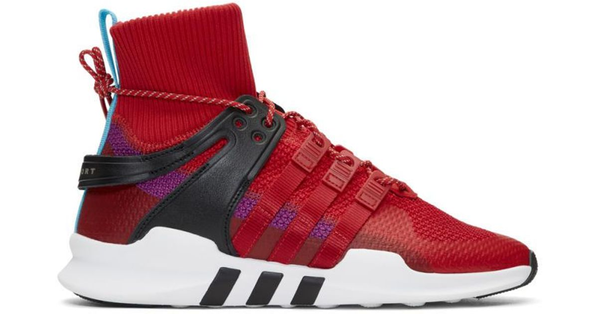 0daf82a589536c Lyst - adidas Originals Red And Purple Eqt Support Adv Winter High-top  Sneakers in Red for Men
