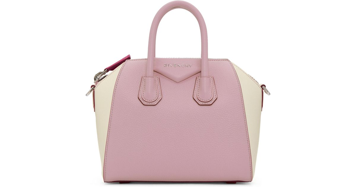 44c9a83cda65 Lyst - Givenchy Pink And Off-white Mini Antigona Bag in Pink