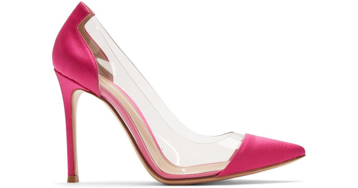 cb3a449d49a Gianvito Rossi Pink Satin Plexi Heels in Pink - Lyst