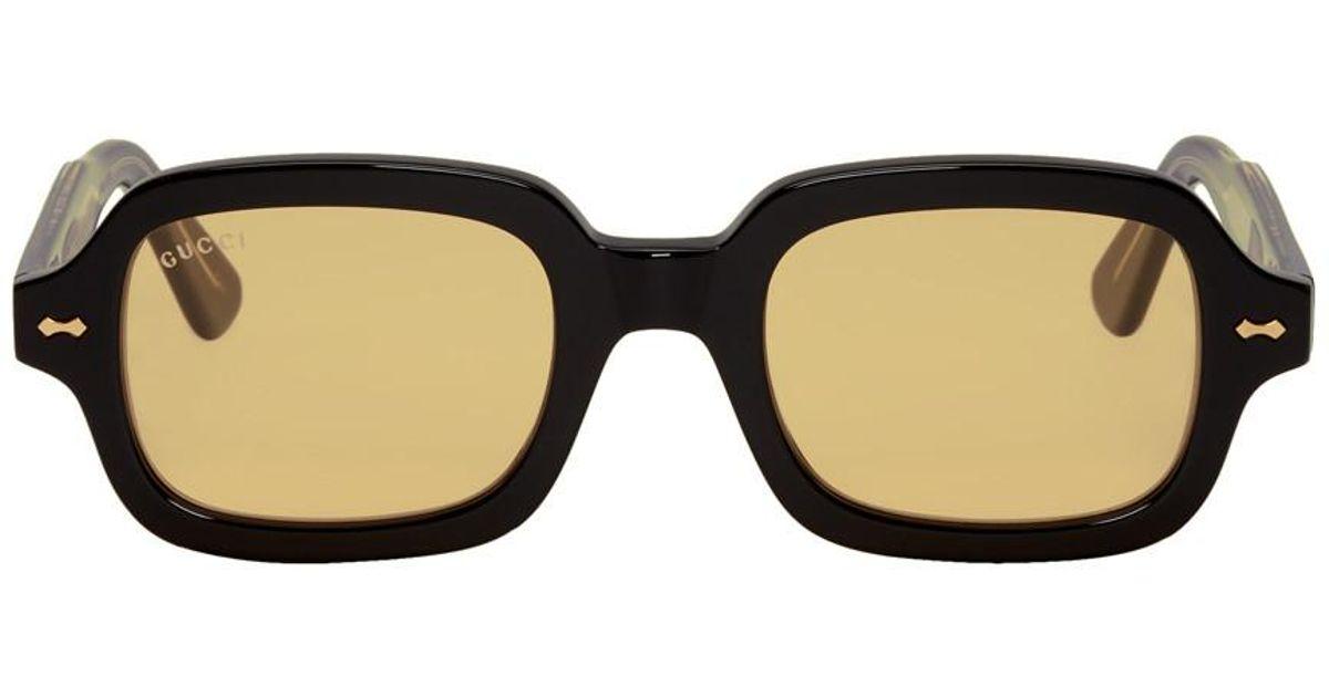 cbe818bd1b Gucci Black And Orange Rectangular Sunglasses in Black for Men - Lyst