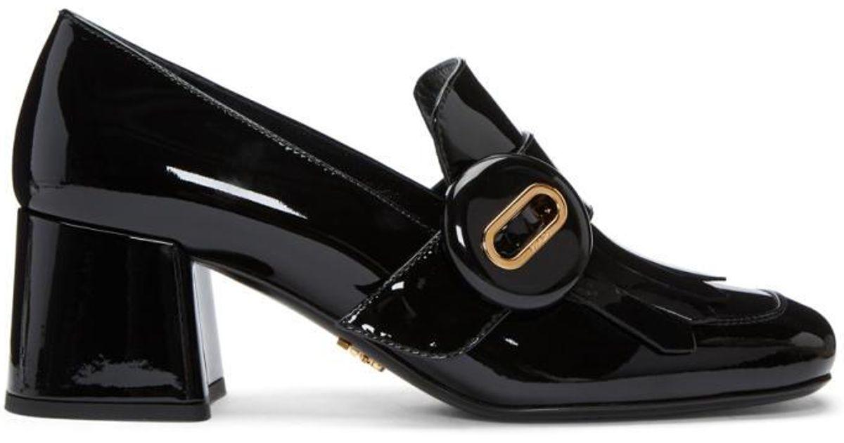 Prada Black Patent Fringed Loafer Heels by2H0yb