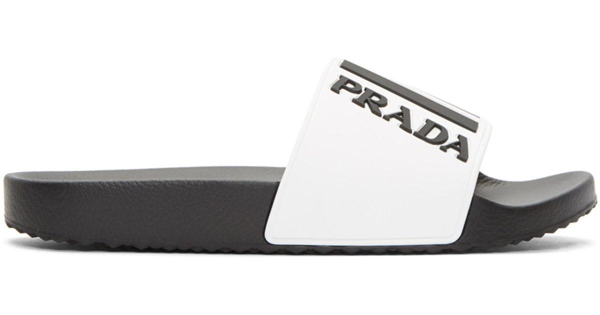 Prada White Rubber Logo Slides THvIsKx