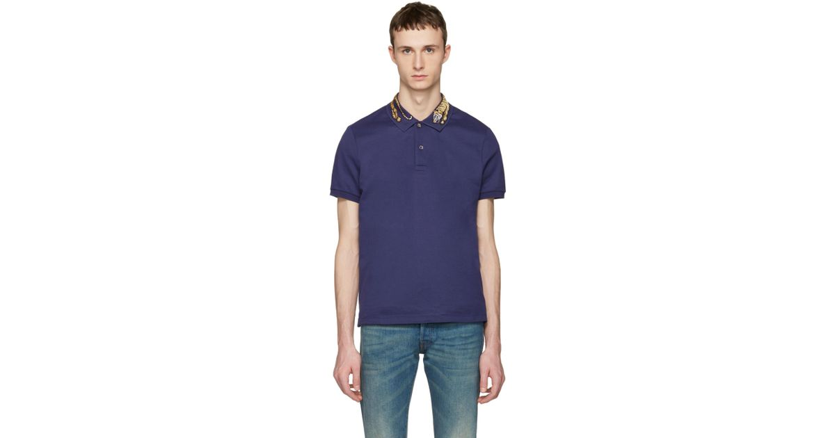 2665285a52f Lyst - Gucci Navy Tiger Polo in Blue for Men