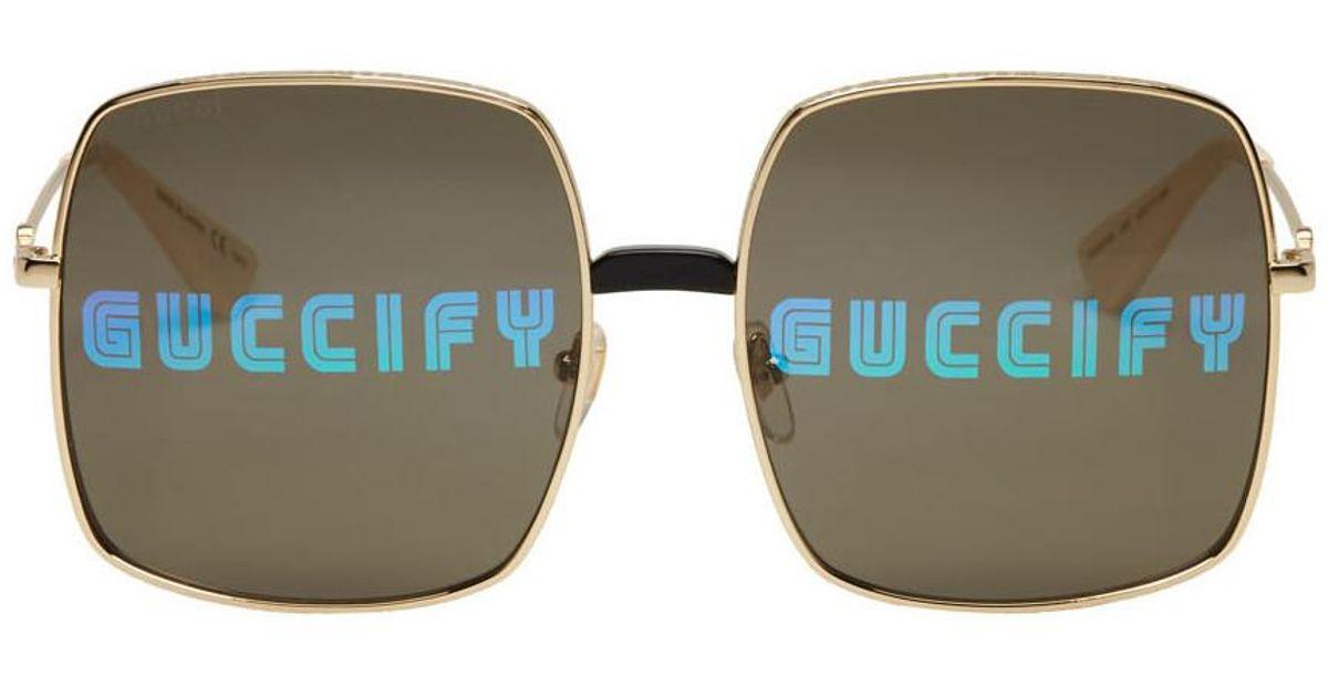 Lyst - Lunettes de soleil rectangulaires surdimensionnees dorees Gucci pour  homme d948cb8b665c