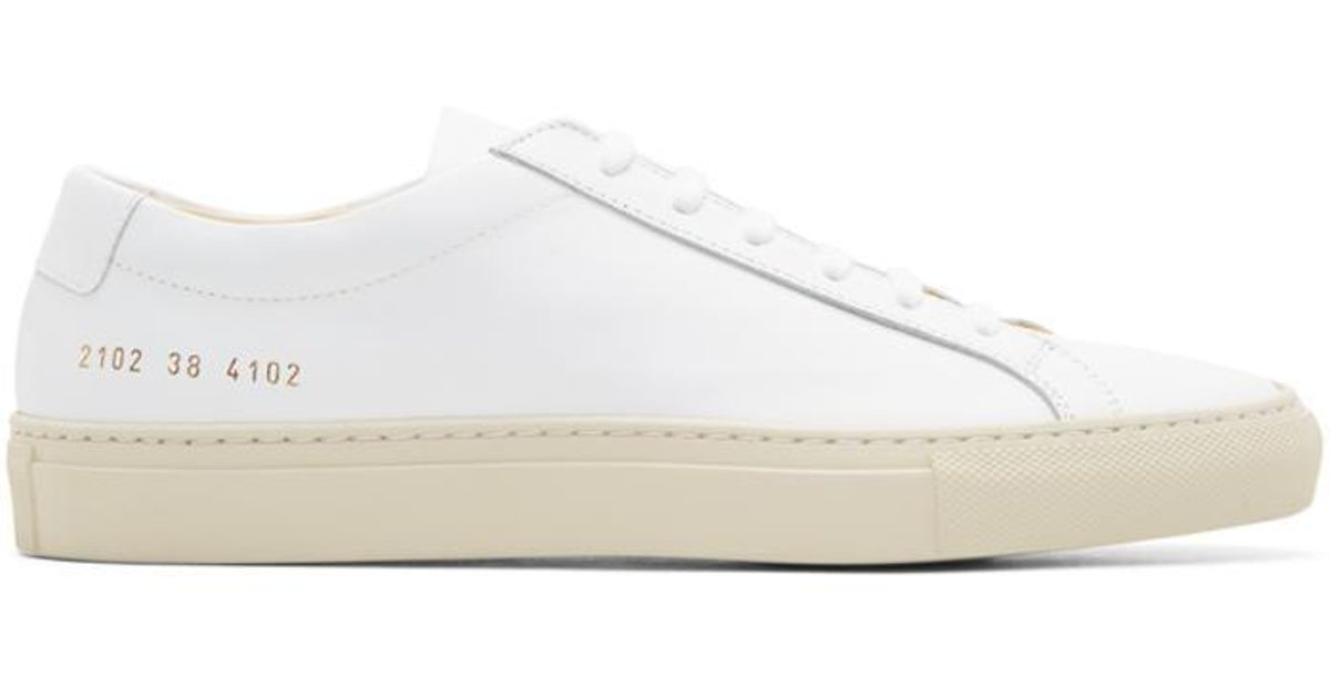 6eaa75c800bdc Lyst - Common Projects White   Beige Achilles Low Colored Sole Sneakers in  White for Men