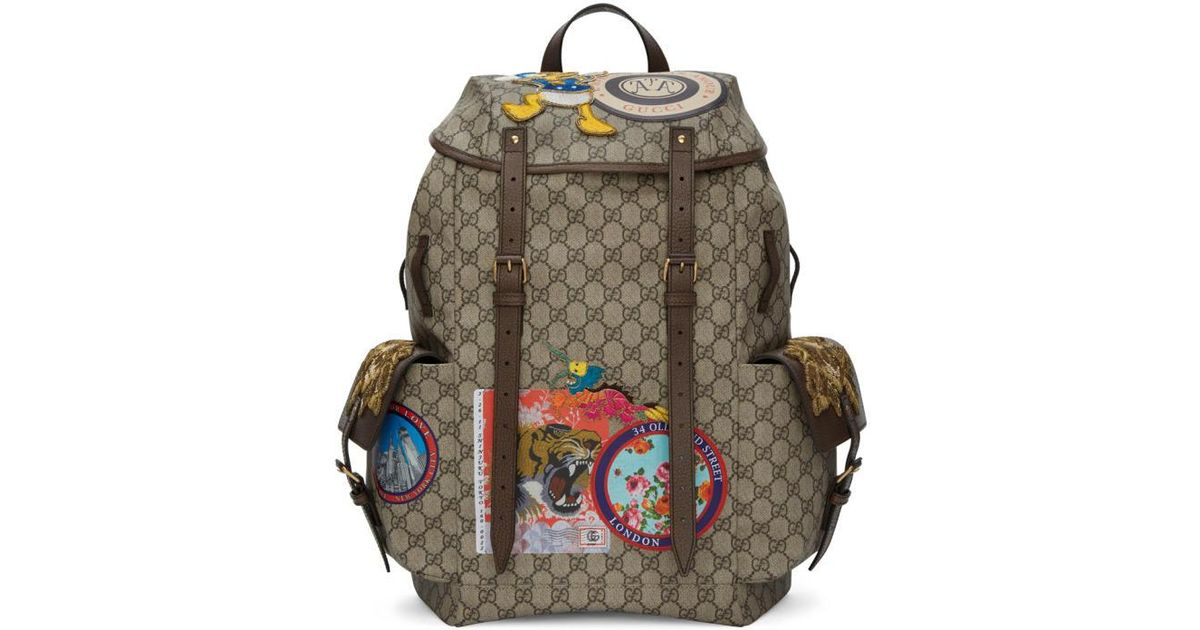0adfed2909c79 Lyst - Gucci Beige Gg Supreme Donald Duck Backpack in Natural for Men