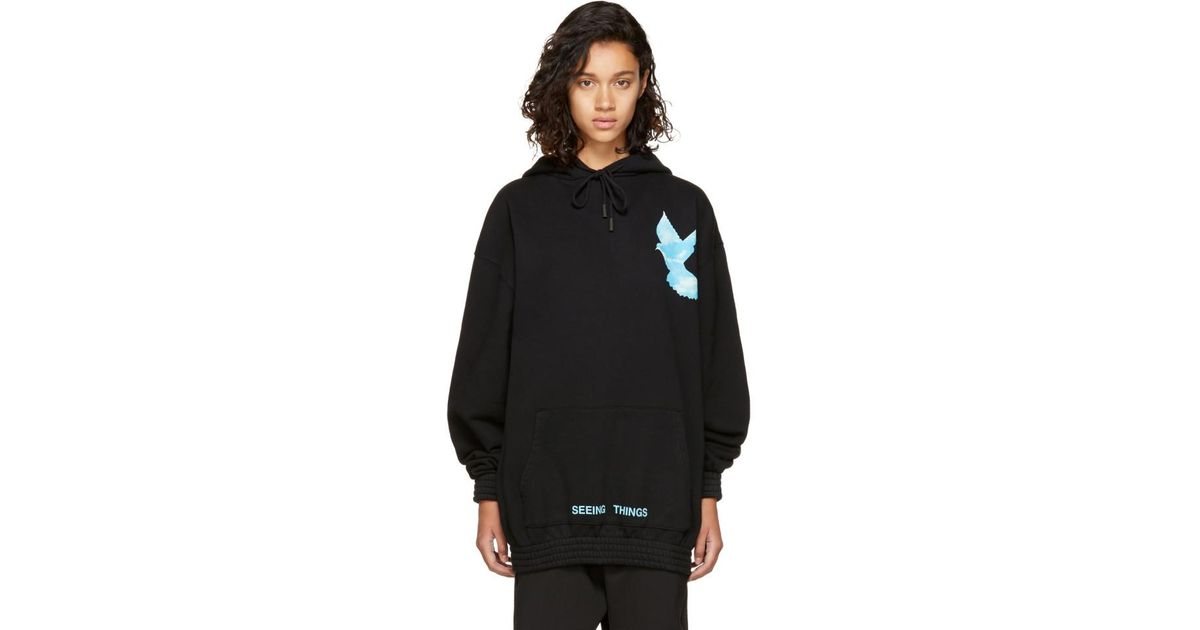 56c8723ec468 Lyst - Off-White c o Virgil Abloh Black Oversized  not Real  Dove Hoodie in  Black