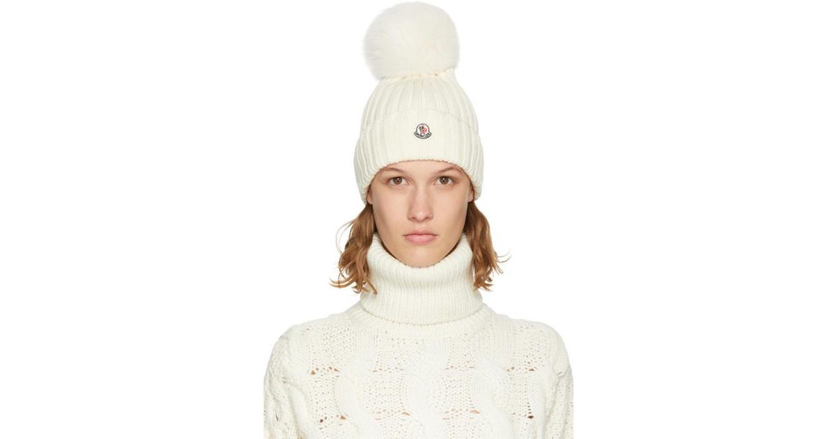 84761d32fa02e Lyst - Moncler Off-white Fur Pom Pom Beanie in White