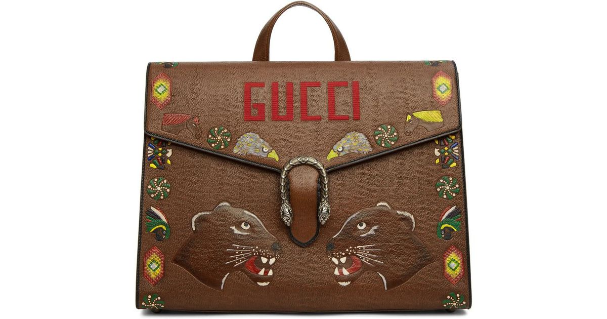 Dionysus Hand-painted Textured-leather Briefcase Gucci jJlANYOLeq