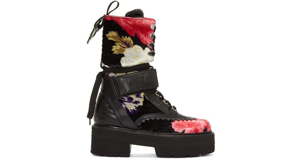 MsgmMulticolor Floral Print Platform Boots LNrAo6A7H
