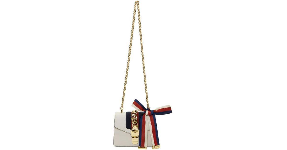 d43c7c4b0710a Lyst - Gucci White Mini Sylvie Bag in White