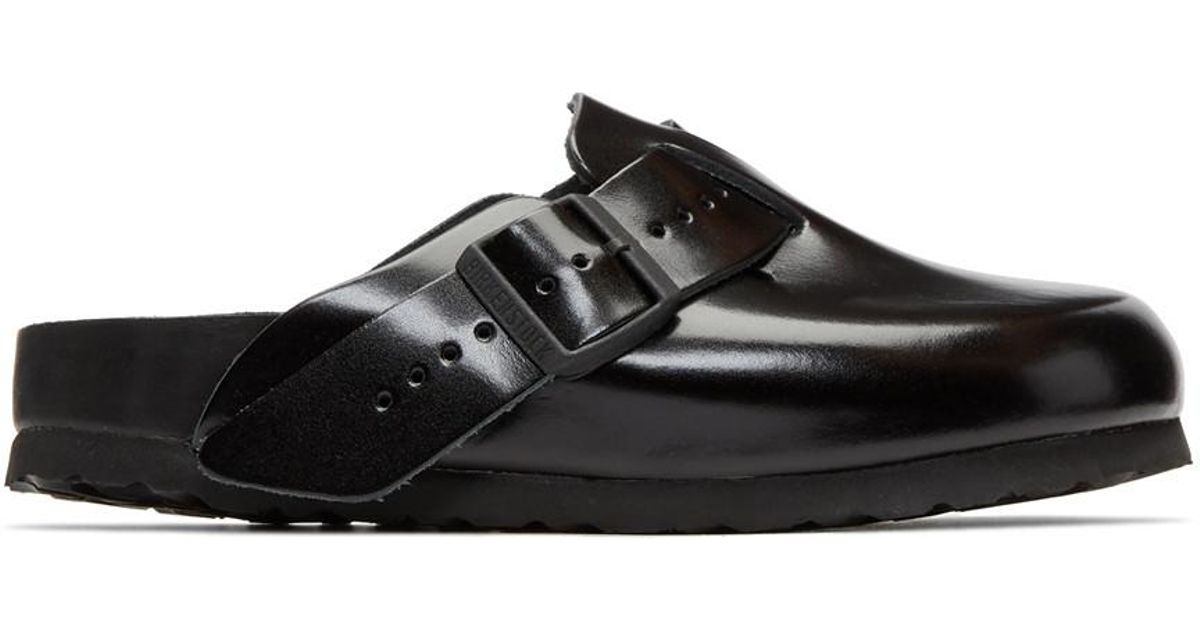 Prada Black BIRKENSTOCK Edition Leather Boston Slip-On Loafers 4MSTG