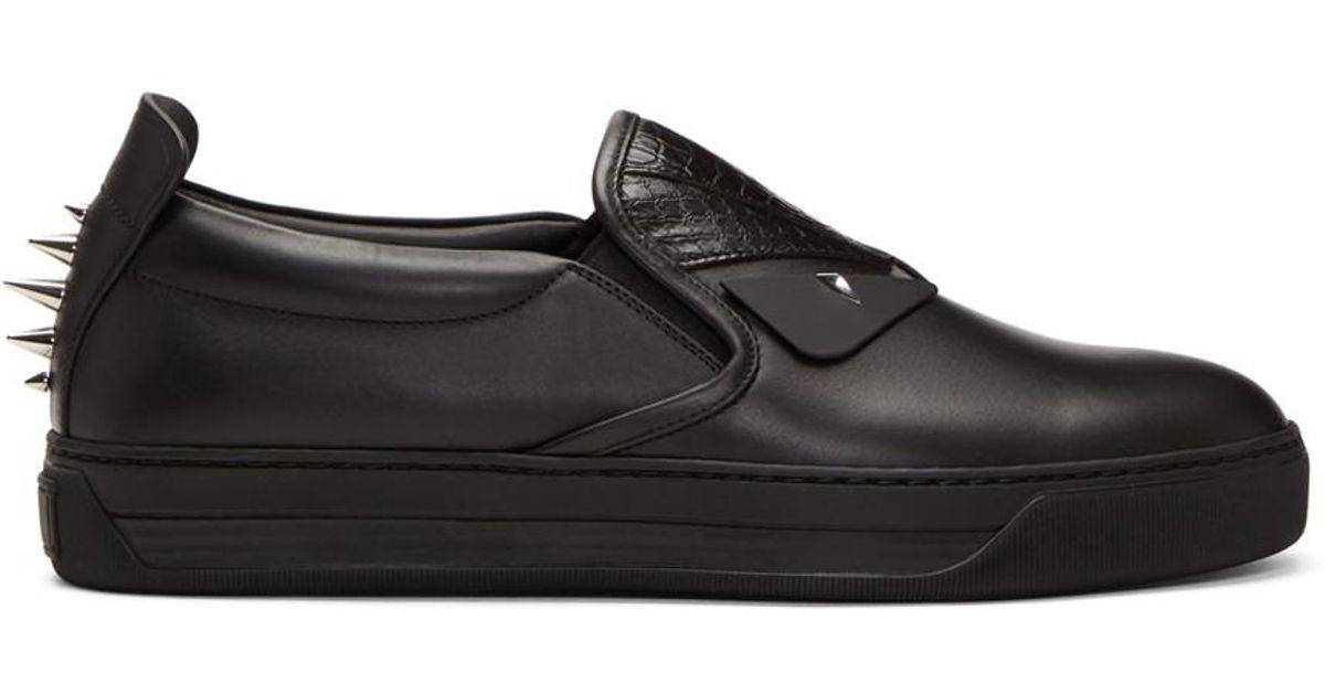 Fendi Snakeskin 'Bag Bugs' Slip-On Sneakers 0tnAqLpfl